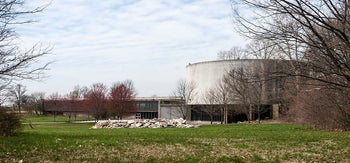 The now-demolished Gettysburg Cyclorama at the Gettysburg National Military Park, Pennsylvania: Designed by Richard Neutra, in typical harmony with the environment.