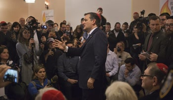 Republican presidential candidate Ted Cruz speaks at the Jewish Center of Brighton Beach in Brooklyn, New York, April 7, 2016.