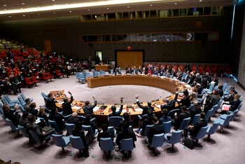 The United Nations Security Council votes during a meeting on North Korea, Thursday, March 24, 2016 at United Nations headquarters.