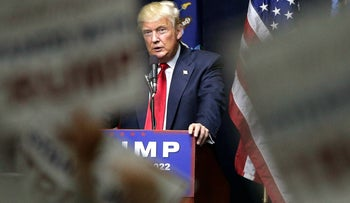 Donald Trump speaking at the rally in Bethpage, Long Island, April 6, 2016.