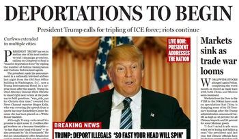 A screenshot of the Boston Globe's satirical front page offering a view of America under a Trump presidency, April 9, 2016.