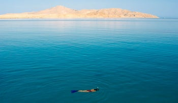 The Island of Tiran, one of two that Egypt has pledged to hand back to the Saudis, as viewed from Sharm el-Sheikh.