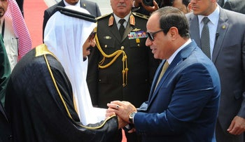 Saudi Arabia's King Salman takes leave of Egypt's President Abdel Fattah el-Sisi at the end of his visit to Cairo.