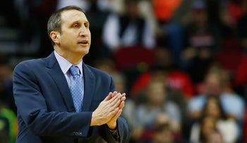 Head coach David Blatt of the Cleveland Cavaliers watches game against the Houston Rockets at the Toyota Center in Houston Texas, January 15, 2016.