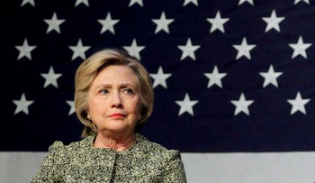 Democratic U.S. presidential candidate Hillary Clinton takes part in a panel in New York, April 11, 2016.