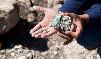 Chunks of glass that were found in the ancient factory in the Galilee.