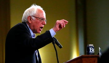 Democratic presidential candidate Bernie Sanders addresses a rally at the Bronx Community College in New York, April 8, 2016.