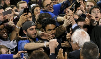 U.S. Democratic presidential candidate Senator Bernie Sanders greets audience members at a campaign rally at the University of Buffalo, April 11, 2016.