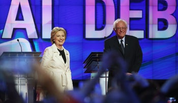 Democratic Presidential candidates Hillary Clinton and Sen. Bernie Sanders (D-VT) stand on stage during the CNN Democratic Presidential Primary Debate at the Duggal Greenhouse in the Brooklyn Navy Yard on April 14, 2016 in New York City.