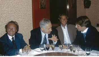 Netanyahu dining in a restaurant with the Mimran family. The relationship started with the father, Jacques Mimran (left, looking at the camera), who was convicted of bribery in a different case.