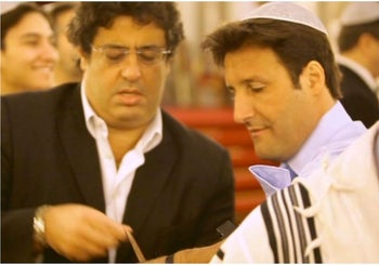 The main suspect, Arnaud Mimran (right) wearing a kippa, with Meyer Habib, a member of the French Parliament and confidant of Netanyahu.