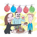 An illustration showing Yacimovich handing a piece of cake to a sweaty Herzog as Peretz raises a glass in the background.