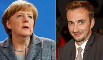 German Chancellor Angela Merkel and German comedian Jan Boehmermann who read out a sexually crude poem about Turkish President Tayyip Erdogan. April 15, 2016.