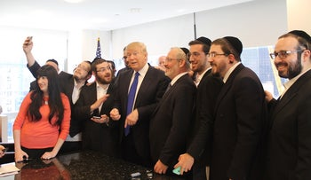 Donald Trump held a 20-minute question-and-answer session with Jewish reporters at his offices at Trump Tower, April 14, 2016.