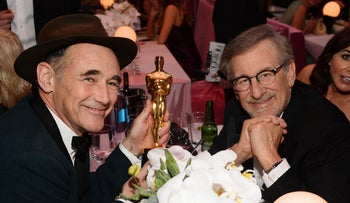 """Mark Rylance, left, winner of the award for best supporting actor for """"Bridge of Spies"""", and Steven Spielberg after the Oscars on Sunday, Feb. 28, 2016, at the Dolby Theater in Los Angeles."""