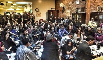 Jews and Muslims participating in a seder at the Islamic Society of Mid Manhattan, organized by the NYC Muslim-Jewish Solidarity Committee, April 14, 2016.