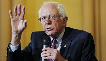 U.S. Democratic presidential candidate Bernie Sanders speaks during a panel discussion at the First Unitarian Congregational Society in the Brooklyn borough of New York April 16, 2016.
