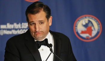 Republican presidential candidate Sen. Ted Cruz (R-TX) speaks at the 2016 annual New York State Republican Gala on April 14, 2016 in New York City.