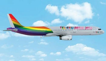 A simulated image of the plane promoting Tel Aviv Pride 2016.