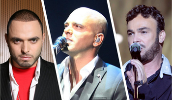 From left to right: Subliminal, Eyal Golan and David D'Or, set to perform at a rally in favor of the soldier who shot a subdued Palestinian attacker in Hebron.