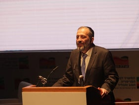 Shas party chairman and Interior Minister Arye Dery at the Negev Conference in Yeruham on April 12, 2016.