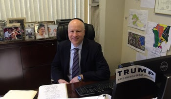 Jason Dov Greenblatt, Donald Trump's top real estate lawyer and an Orthodox Jew, in a conference room at Trump world headquarters in Manhattan.
