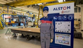 A safety instruction sign stands on the production line inside the Alstom SA railway train factory in Petite Foret, France, on Thursday, March 17, 2016.