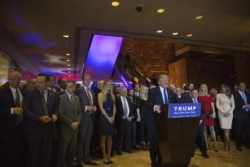 U.S. Republican presidential candidate Donald Trump speaks during an election night event in New York,  on Tuesday, April 19, 2016.