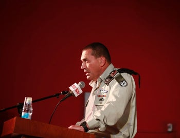 Southern Command head General Eyal Zamir at the conference in Sderot on April 20, 2016.
