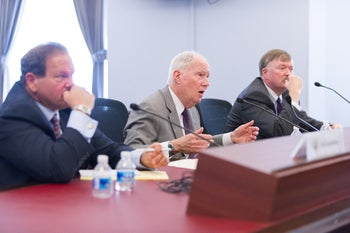 Security expert Paul Goldenberg (far left) testifying in April 2016 about anti-Semitism, cautions U.S. Jews, about gaping safety flaws exposed by the Orlando club massacre.