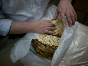 Matzah being prepared before Passover, April 2016.