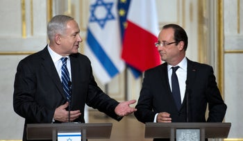 French President Francois Hollande and Israel's Prime Minister Benjamin Netanyahu hold a press conference, Paris, France, October 31, 2012.