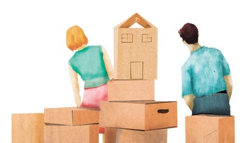 An illustration showing a couple with brown boxes