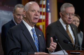 Senator Ben Cardin, D-Md., speaking during a press conference with other leading Democratic senators at the U.S. Capitol in Washington, D.C., Nov. 19, 2015.
