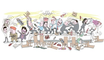 An illustration showing Israeli politicians fighting and throwing food and furniture at each other over the Passover seder table.