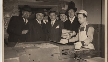 Irving Streit, center, son of Streit's Matzo founder Aron Streit, in an undated photo at the Lower East Side factory, New York City, U.S.