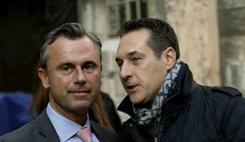 Norbert Hofer (L) with head of Austrian Freedom Party (FPO) Heinz-Christian Strache