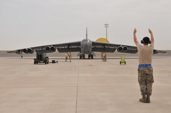 U.S. Air Force B-52 Stratofortress bomber arrives at Al Udeid Air Base to join the fight against ISIS in Iraq and Syria, Qatar, April 9, 2016.