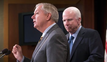 Republican members of the Senate Armed Services Committee, Senator Lindsey Graham, and committee chairman John McCain, speak at a news conference on Capitol Hill in Washington, February 24, 2016.