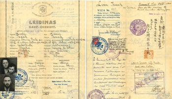 The endorsement of Chiune Sugihara appears on the travel document, that allowed Isaac Lewin and his family to escape Lithuania in 1940. Nathan Lewin is the 4-year-old boy in the arms of his mother.