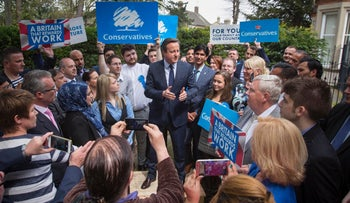 British Prime Minister David Cameron addresses Conservative supporters following the local elections in Peterborough, central England, May 6, 2016.