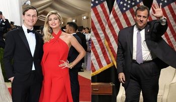 Jared Kushner (L) with his wife Ivanka Trump, and the Governor of New Jersey Chris Christie.