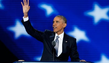 U.S. President Barack Obama waves while arriving on stage during the Democratic National Convention (DNC) in Philadelphia, Pennsylvania, U.S., on Wednesday, July 27, 2016.