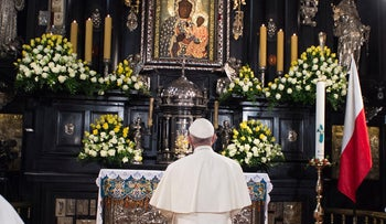 Pope Francis prays in front of the Black Madonna in the Jasna Gora' shrine in Czestochowa, Poland, July 28, 2016.