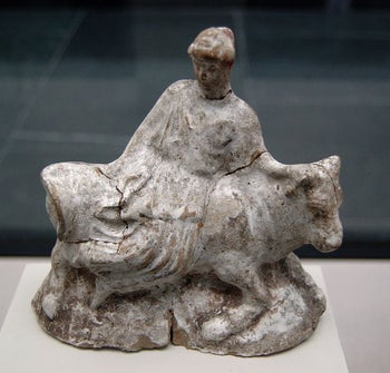 Terracotta figurine from Athens, c. 460–480 BCE: Europa, a beautiful Phoenician princess sitting on the god Zeus disguised as a bull.