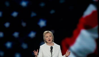 Hillary Clinton addressing delegates at the Democratic National Convention, July 28, 2016.