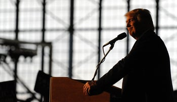 Republican President candidate Donald Trump addresses supporters at the Wings Over the Rockies Air & Space Museum in Denver, Colorado.