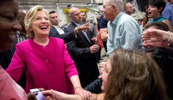 Democratic presidential candidate Hillary Clinton greets members of the audience after speaking at a rally at K'NEX, a toy company in Hatfield, Pa., Friday, July 29.