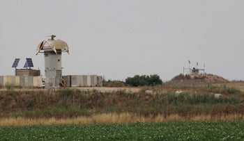 An Israeli army post in front of a Hamas post on the Gaza border, June 2016.