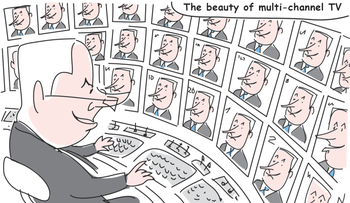 """In a cartoon, Netanyahu is seen at a TV control room, watching dozens of screens, all of which showing his face. A caption reads: """"The beauty of multi-channel TV."""""""